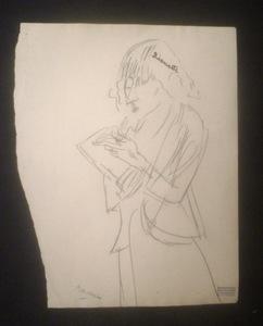 "Jules PASCIN - Dibujo Acuarela - ""Lionette"" (Hermine David)"