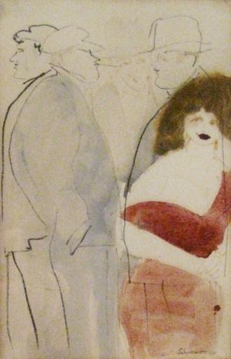 David SCHNEUER - Dibujo Acuarela - Figuers