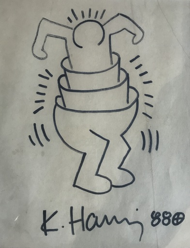 Keith HARING - Dibujo Acuarela - Cupman