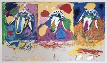 Menashe KADISHMAN - Estampe-Multiple - Three Sheep