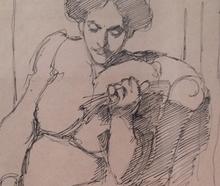 Béla KADAR - Dibujo Acuarela - Two Studies of Resting Woman