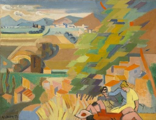 André LHOTE - Painting - La Vallée du Rhône vue de Ciousclat ou Pique-nique à Mirmand