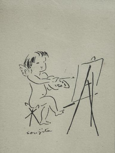 Tsuguharu FOUJITA - Drawing-Watercolor - Amour devant le chevalet