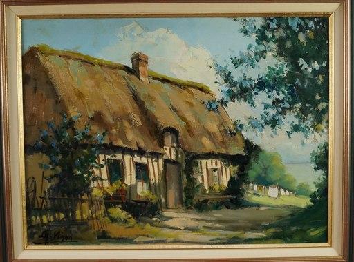 Louis Jacques VIGON - Peinture - Chaumière Normande à Veules les Roses