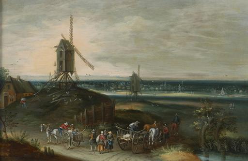 """Peeter GYSELS - Painting - """"Paysage à la calèche"""""""