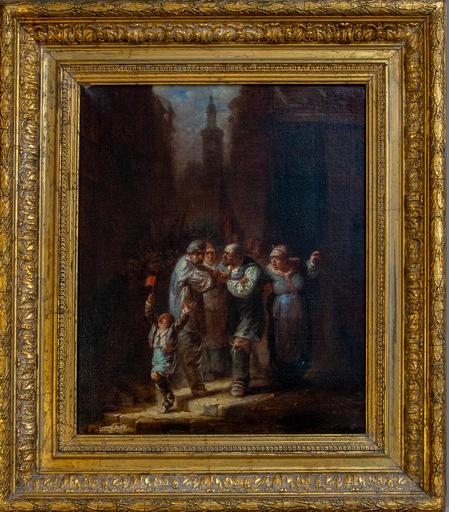 Wilfrid Constant BEAUQUESNE - Pittura - Personaggi in piazza