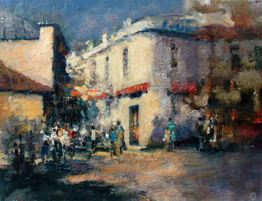 Levan URUSHADZE - Pittura - Sunny morning at the corner of the street