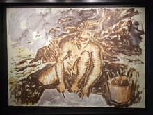 Miquel BARCELO - Painting - Autorretrato en Portugal, pintando.