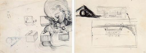 Salvador DALI - Drawing-Watercolor - Étude de tête de femme et étude pour le tableau : La Cène