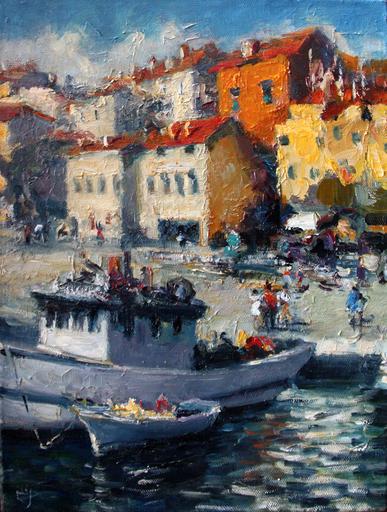 Levan URUSHADZE - Pintura - Landscape with tow boat