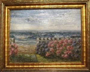 David BURLIUK - Gemälde - Garden near the ocean