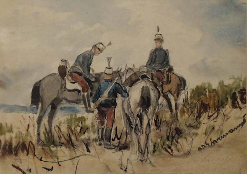 """Theodor VON EHRMANNS - Drawing-Watercolor - """"Hussar Patrol"""" by Theodor von Ehrmanns, ca 1890"""