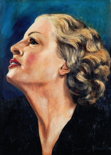 Francis PICABIA - Peinture - Profil de femme blonde sur fond bleu