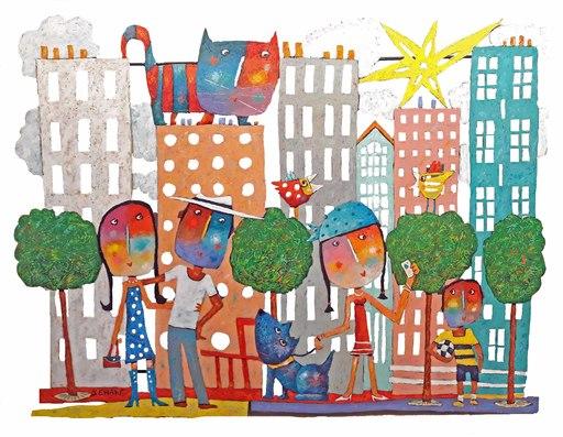 Christophe JEHAN - Sculpture-Volume - Summer in the city (œuvre murale)