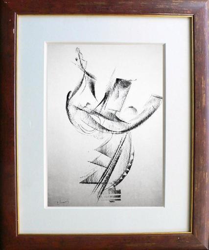"""Jean Gabriel CHAUVIN - Zeichnung Aquarell - """"Navigation"""""""