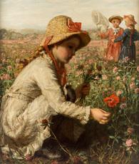 Karl Wilhelm Friedr. BAUERLE - Painting - Children Gathering Flowers