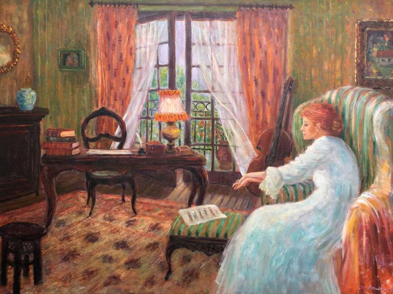 Monique BAUDAUX - Painting - Receiving Letter