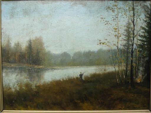 Ivan Pavlovich POKHITONOV - 绘画 - Angler am See