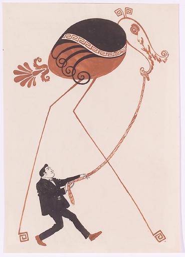 """Julius DIEZ - Disegno Acquarello - """"Art Nouveau Design"""", 1890s, Watercolor"""