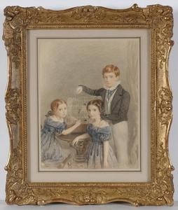 "Margaret Sarah CARPENTER (Attrib.) - Drawing-Watercolor - ""Children with Birdcage"", Watercolor, 1850s"
