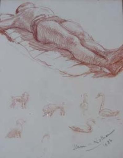 Henri GIRAULT DE NOLHAC - Dibujo Acuarela - Baigneur allongé