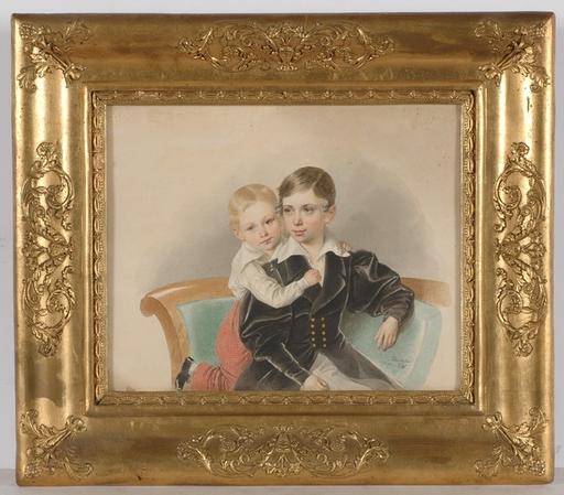 "Josef KRIEHUBER - Miniatura - ""Portrait of Two Little Brothers"", 1834, Watercolor"