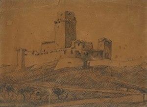Gerardo DOTTORI - Dibujo Acuarela - La Rocca di Assisi