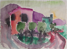 Eduard BARGHEER - Drawing-Watercolor - Häuser in Forio