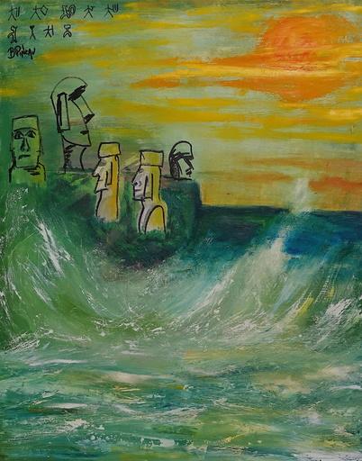 Bernard PINEAU - Painting - H037 île de Pâques
