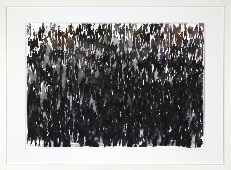Philippe COGNÉE - Drawing-Watercolor - Foule 19J