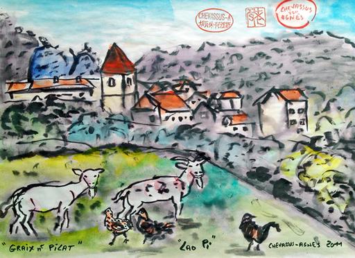 Jean-Pierre CHEVASSUS-AGNES - Dessin-Aquarelle - vue du village de GRAIX massif du PILAT (42)
