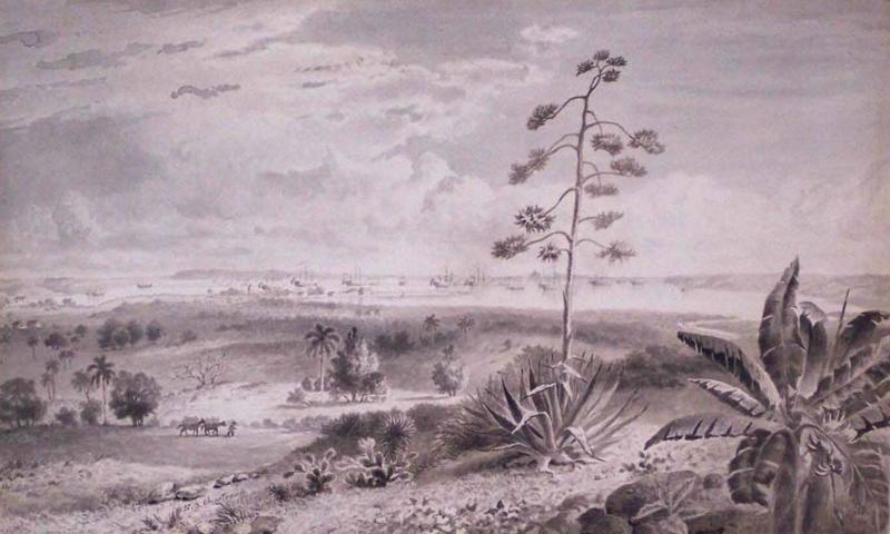 Esteban CHARTRAND - Zeichnung Aquarell - Vista De La Bahia de La Habana