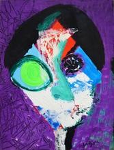 Bernard LORJOU - Painting - « Portrait sur fond violet ».