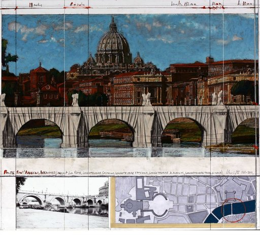CHRISTO - Drawing-Watercolor - Ponte Sant Angelo, Wrapped – Project for Rome