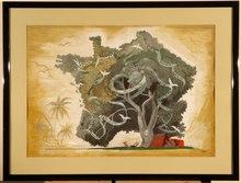G. D'ABOVILLE - Drawing-Watercolor - '' Arbre du Touring Club de France ''