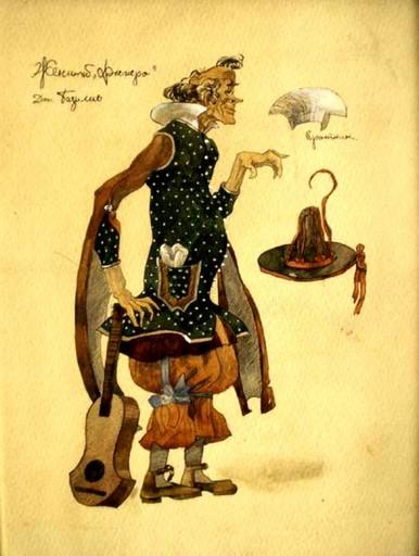 Aleksandr Jakovlevic GOLOVIN - Dibujo Acuarela - Pair of costume designs for Doctor Bartolo and Don Bazillio
