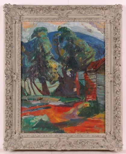 "Frederick SERGER - Painting - ""Expressionist Landscape"" by Frederik B. Serger, 1940's"