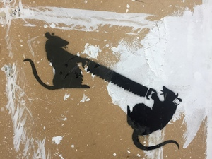 """BANKSY - Pittura - """"Two Rats With Saw"""""""