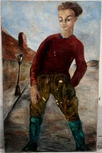 Henri D'AMFREVILLE - Pittura - JEUNE GAVROCHE