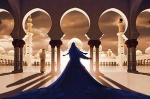 Ludovic BARON - Fotografia - La femme en bleu face à la mosquée blanche