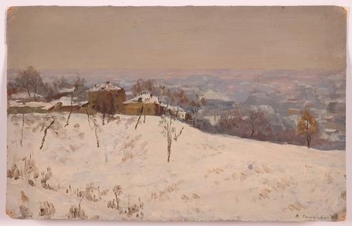 "Vladimir M. SINITSKI - Painting - ""Suburb in Winter"", Oil Painting, 1950"