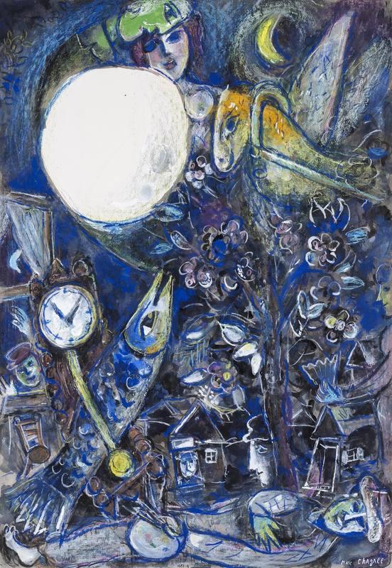 Marc CHAGALL - Drawing-Watercolor - Le Village au Soleil