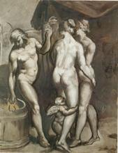 Emile Henri BERNARD - Painting - Trois Personagges et l'Amour