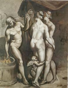 Emile Henri BERNARD - Peinture - Trois Personagges et l'Amour