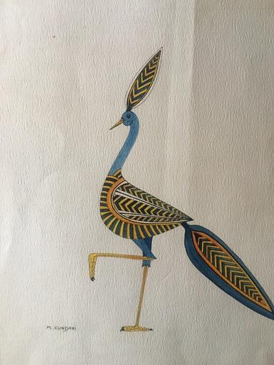 M. CUNDARI - Zeichnung Aquarell - OISEAU