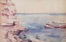 Childe HASSAM - Drawing-Watercolor - Untitled (Seascape)