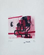 亨利•摩尔 - 版画 - Black Figure on Pink Background