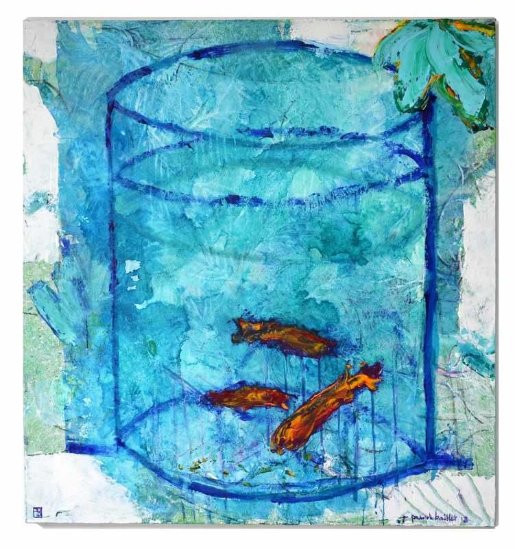 """Patrick BAILLET - Painting - """"Les Poissons rouges"""""""