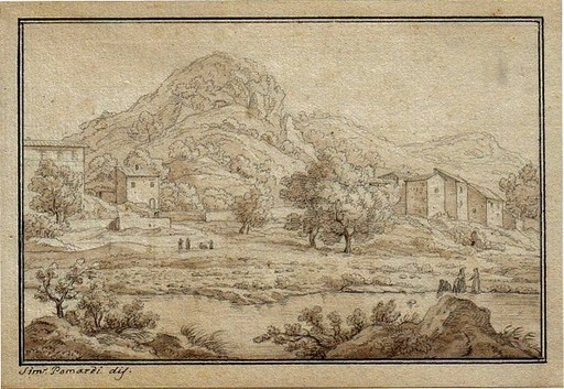 Simone POMARDI - Drawing-Watercolor - Monte Cattillo am Fluß Anio in der Nähe vom Tivoli