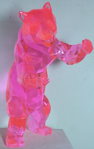 Richard ORLINSKI - Sculpture-Volume - STANDING BEAR PINK CRISTAL